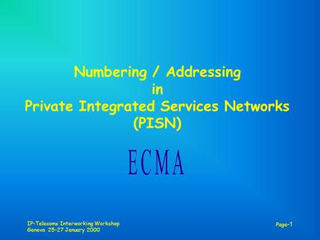 IP-Telecoms Interworking Workshop Geneva 25-27 January 2000 Page -1 Numbering / Addressing in Private Integrated Services Networks (PISN)