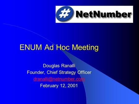 ENUM Ad Hoc Meeting Douglas Ranalli Founder, Chief Strategy Officer February 12, 2001.