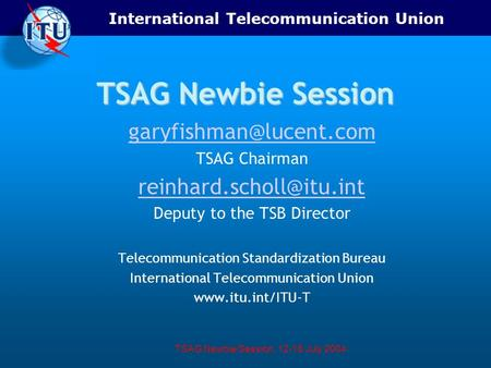International Telecommunication Union TSAG Newbie Session, 12-16 July 2004 TSAG Newbie Session TSAG Chairman