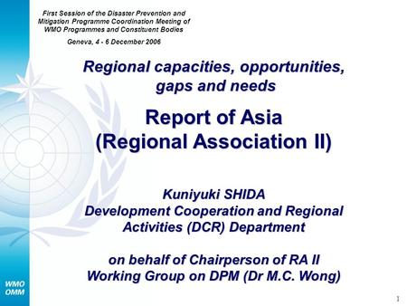 1 Regional capacities, opportunities, gaps and needs Report of Asia (Regional Association II) Kuniyuki SHIDA Development Cooperation and Regional Activities.