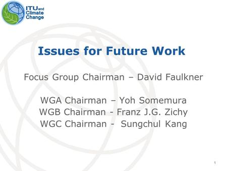 1 Issues for Future Work Focus Group Chairman – David Faulkner WGA Chairman – Yoh Somemura WGB Chairman - Franz J.G. Zichy WGC Chairman - Sungchul Kang.