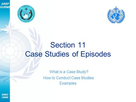 AREP GURME Section 11 Case Studies of Episodes What is a Case Study? How to Conduct Case Studies Examples.
