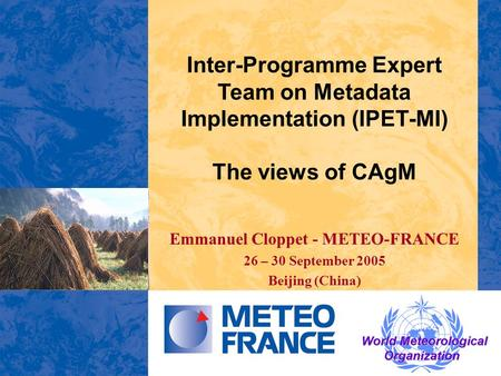Inter-Programme Expert Team on Metadata Implementation (IPET-MI) The views of CAgM Emmanuel Cloppet - METEO-FRANCE 26 – 30 September 2005 Beijing (China)