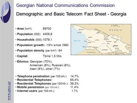 Www.gncc.ge Demographic and Basic Telecom Fact Sheet - Georgia Georgian National Communications Commission Area ( km² ):69700 Population (000) : 4409,8.