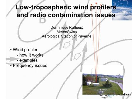 Low-tropospheric wind profilers and radio contamination issues Dominique Ruffieux MeteoSwiss Aerological Station of Payerne Wind profiler - how it works.