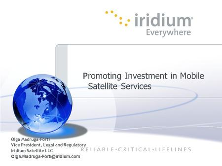 Promoting Investment in Mobile Satellite Services