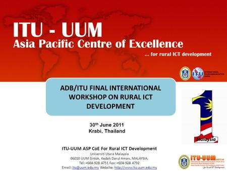 ADB/ITU FINAL INTERNATIONAL WORKSHOP ON RURAL ICT DEVELOPMENT