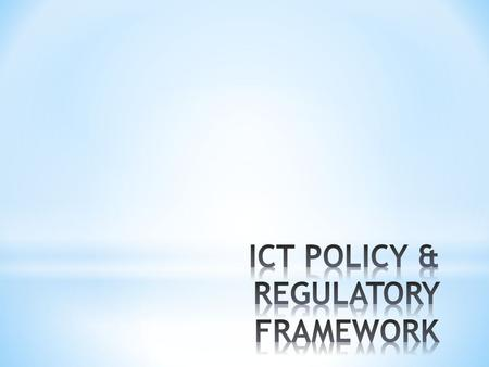 POLICIES GOVERNING TELECOM SECTOR THE FIRST ATTEMPT TO FORMALIZE A POLICY STATEMENT WAS MADE IN 1994 WHEN THE NATIONAL TELECOM POLICY 1994 (NTP 94)