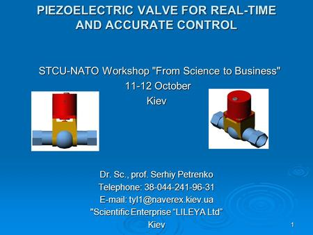 1 PIEZOELECTRIC VALVE FOR REAL-TIME AND ACCURATE CONTROL STCU-NATO Workshop From Science to Business STCU-NATO Workshop From Science to Business 11-12.