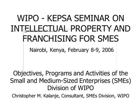 WIPO - KEPSA SEMINAR ON INTELLECTUAL PROPERTY AND FRANCHISING FOR SMES Nairobi, Kenya, February 8-9, 2006 Objectives, Programs and Activities of the Small.