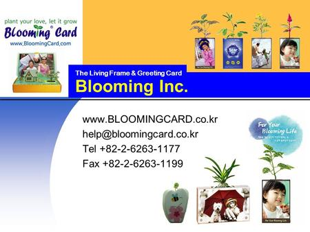 Blooming Inc. The Living Frame & Greeting Card  Tel +82-2-6263-1177 Fax +82-2-6263-1199.