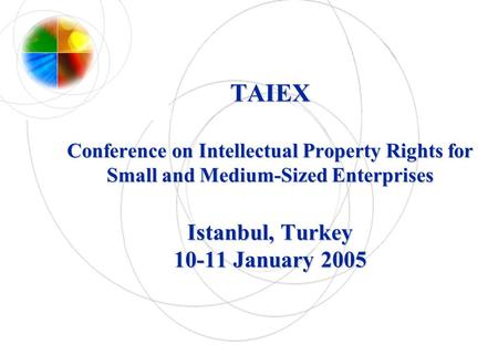 TAIEX Conference on Intellectual Property Rights for Small and Medium-Sized Enterprises Istanbul, Turkey 10-11 January 2005.