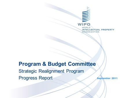 September 2011 Program & Budget Committee Strategic Realignment Program Progress Report.