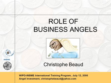 WIPO-INSME International Training Program, July 12, 2006 Angel Investment, ROLE OF BUSINESS ANGELS Christophe Beaud.