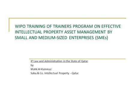 WIPO TRAINING OF TRAINERS PROGRAM ON EFFECTIVE INTELLECTUAL PROPERTY ASSET MANAGEMENT BY SMALL AND MEDIUM-SIZED ENTERPRISES (SMEs) IP Law and Administration.