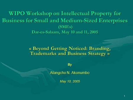 1 WIPO Workshop on Intellectual Property for Business for Small and Medium-Sized Enterprises (SMEs) Dar-es-Salaam, May 10 and 11, 2005 « Beyond Getting.