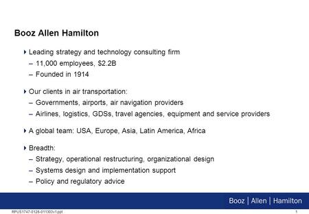 Booz Allen Hamilton Leading strategy and technology consulting firm