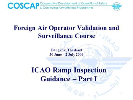 1 Foreign Air Operator Validation and Surveillance Course Bangkok, Thailand 30 June – 2 July 2009 ICAO Ramp Inspection Guidance – Part I.