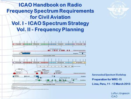 ICAO Handbook on Radio Frequency Spectrum Requirements for Civil Aviation Vol. I - ICAO Spectrum Strategy Vol. II - Frequency Planning Loftur Jónasson.