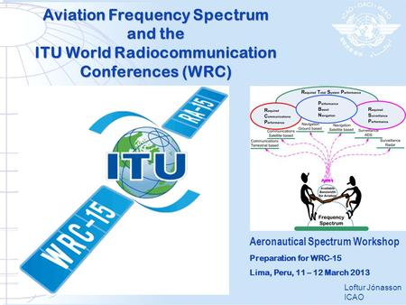 Aviation Frequency Spectrum and the ITU World Radiocommunication Conferences (WRC) Loftur Jónasson ICAO Aeronautical Spectrum Workshop Preparation for.