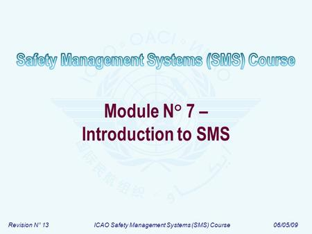 Revision N° 13ICAO Safety Management Systems (SMS) Course06/05/09 Module N° 7 – Introduction to SMS.