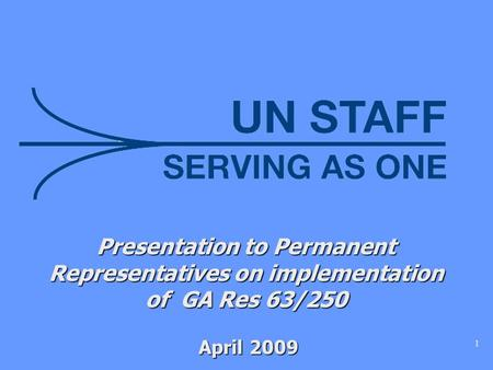 1 Presentation to Permanent Representatives on implementation of GA Res 63/250 April 2009 April 2009.