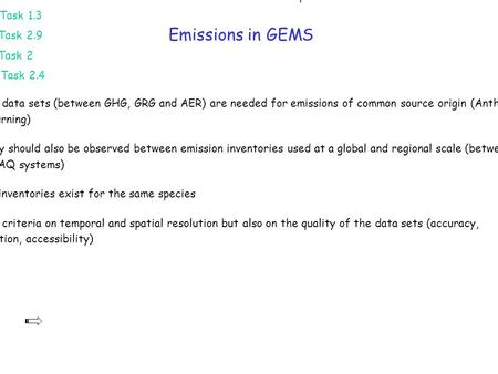 Emissions in GEMS Data on emissions are needed for the 4 sub-systems GHG, GRG, AER and RAQ GEMS Project has dedicated tasks for emissions and surface fluxes.