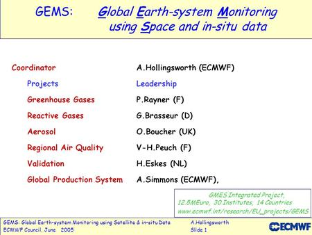 GEMS: Global Earth-system Monitoring using Satellite & in-situ DataA.Hollingsworth ECMWF Council, June 2005Slide 1 GEMS:Global Earth-system Monitoring.