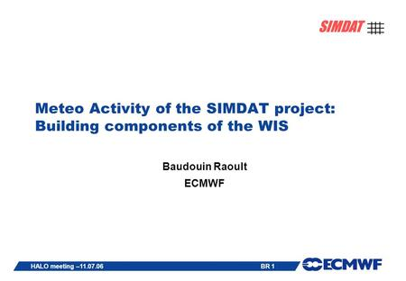 BR 1 SIMDAT HALO meeting –11.07.06 Meteo Activity of the SIMDAT project: Building components of the WIS Baudouin Raoult ECMWF.