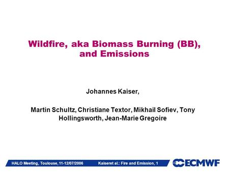 HALO Meeting, Toulouse, 11-12/07/2006 Kaiseret al.: Fire and Emission, 1 Wildfire, aka Biomass Burning (BB), and Emissions Johannes Kaiser, Martin Schultz,