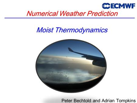 Numerical Weather Prediction Moist Thermodynamics Peter Bechtold and Adrian Tompkins.