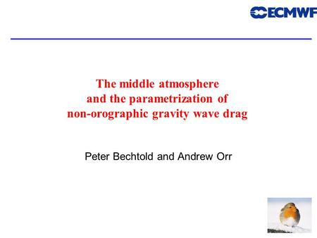 1 The middle atmosphere and the parametrization of non-orographic gravity wave drag Peter Bechtold and Andrew Orr.