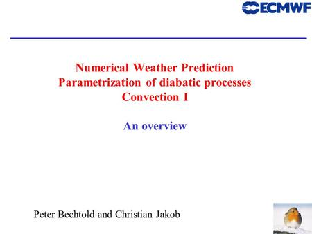 1 Peter Bechtold and Christian Jakob Numerical Weather Prediction Parametrization of diabatic processes Convection I An overview.