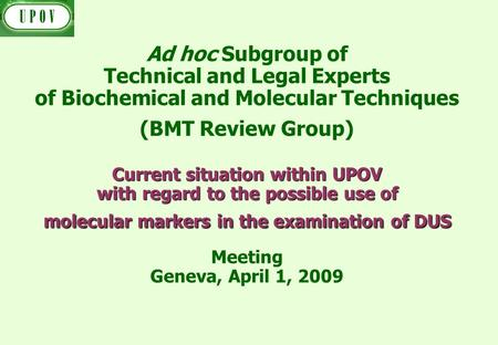 Current situation within UPOV with regard to the possible use of molecular markers in the examination of DUS Ad hoc Subgroup of Technical and Legal Experts.