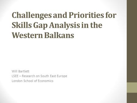 Will Bartlett LSEE – Research on South East Europe