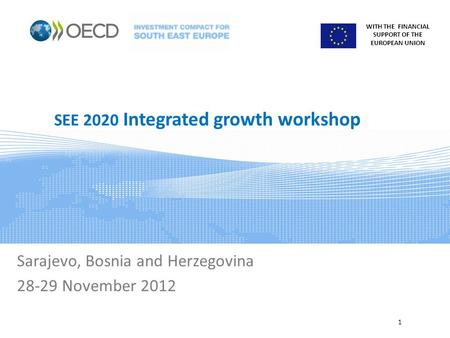 WITH THE FINANCIAL SUPPORT OF THE EUROPEAN UNION SEE 2020 Integrated growth workshop Sarajevo, Bosnia and Herzegovina 28-29 November 2012 1.