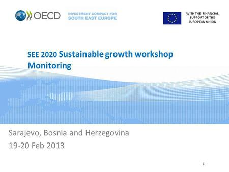 WITH THE FINANCIAL SUPPORT OF THE EUROPEAN UNION SEE 2020 Sustainable growth workshop Monitoring Sarajevo, Bosnia and Herzegovina 19-20 Feb 2013 1.