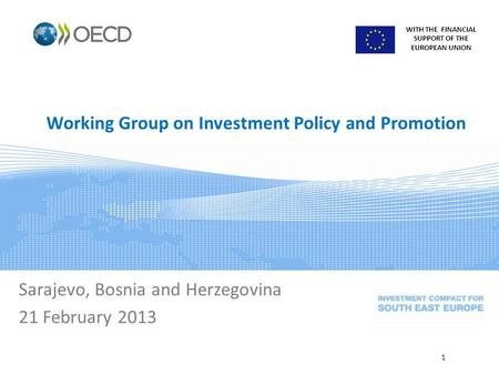 WITH THE FINANCIAL SUPPORT OF THE EUROPEAN UNION Working Group on Investment Policy and Promotion Sarajevo, Bosnia and Herzegovina 21 February 2013 1.