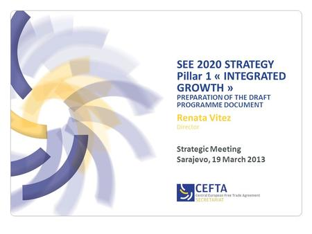 SEE 2020 STRATEGY Pillar 1 « INTEGRATED GROWTH » PREPARATION OF THE DRAFT PROGRAMME DOCUMENT Renata Vitez Director Strategic Meeting Sarajevo, 19 March.