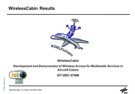 WirelessCabin, EC Project IST-2001-37466 DLR 2003, all rights reserved WirelessCabin Results WirelessCabin Development and Demonstrator of Wireless Access.