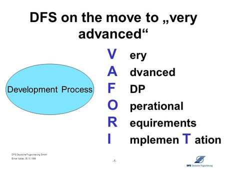 DFS Deutsche Flugsicherung GmbH Elmar Kallas, 05.10.1999 -1- DFS on the move to very advanced V ery A dvanced F DP O perational R equirements I mplemen.
