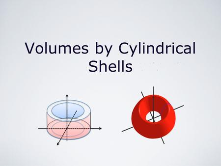 Volumes by Cylindrical Shells r. Integration/First Applications of Integration/Volumes by Cylindrical Shells by M. Seppälä Cylindrical Shells The method.