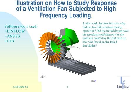 LINFLOW 1.41 Illustration on How to Study Response of a Ventilation Fan Subjected to High Frequency Loading. In this work the question was, why did the.