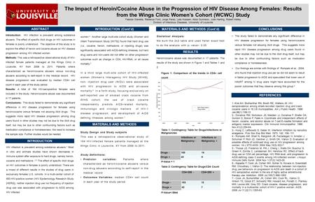 ABSTRACT Introduction: HIV infection is prevalent among substance abusers. The effect of specific illicit drugs on HIV outcomes in females is poorly understood.