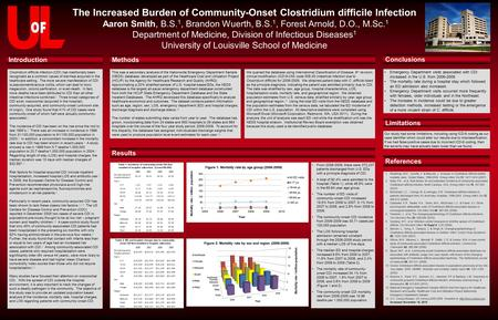 The Increased Burden of Community-Onset Clostridium difficile Infection Aaron Smith, B.S. 1, Brandon Wuerth, B.S. 1, Forest Arnold, D.O., M.Sc. 1 Department.