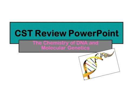 CST Review PowerPoint The Chemistry of DNA and Molecular Genetics.