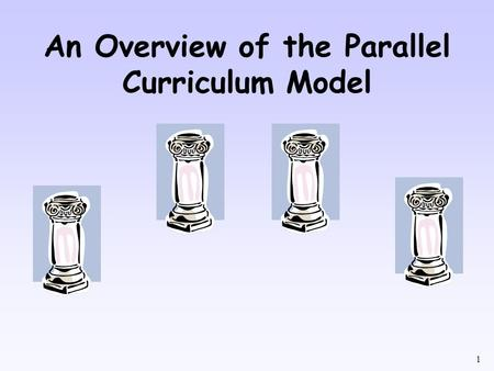 1 An Overview of the Parallel Curriculum Model. 2 What is the Parallel Curriculum Model? The Parallel Curriculum Model is a set of four interrelated designs.
