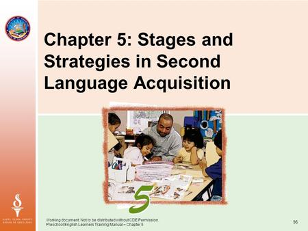 Working document. Not to be distributed without CDE Permission. Preschool English Learners Training Manual – Chapter 5 96 Chapter 5: Stages and Strategies.