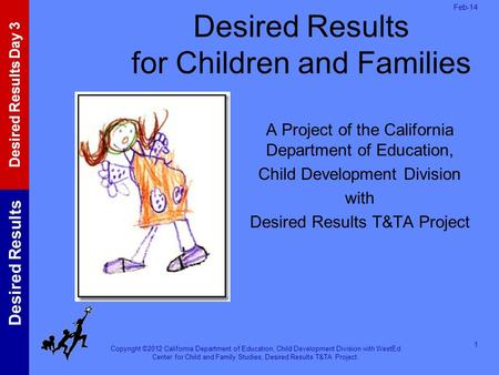 Copyright ©2012 California Department of Education, Child Development Division with WestEd Center for Child and Family Studies, Desired Results T&TA Project.