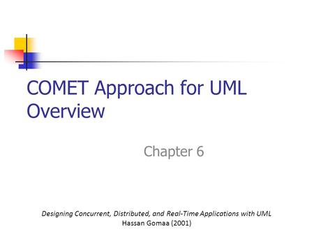 COMET Approach for UML Overview